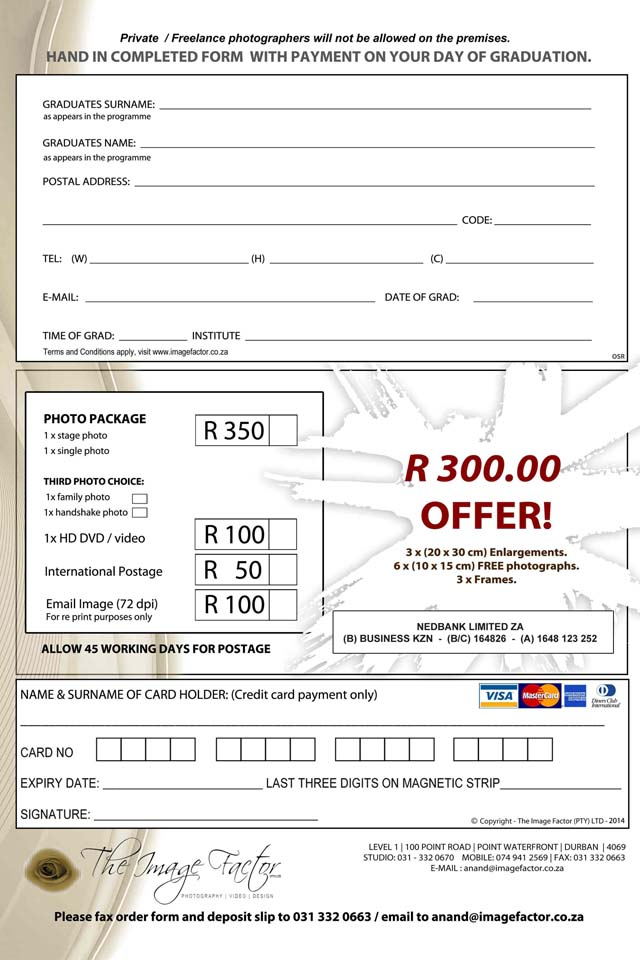 Thekwini Order forms 2013-2
